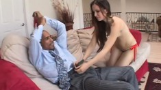 Petite young brunette with a marvelous ass is addicted to black cock
