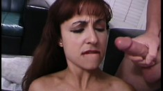 Housewife with an amazing ass keeps her stockings on during a trio