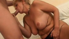 Busty blonde granny gets fucked hard and takes a huge load on her face