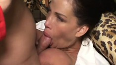 Busty as hell secretary bangs her boss's well hung son on the couch