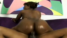 Chunky Cinna gets her thick ass oiled up and then fucked hard