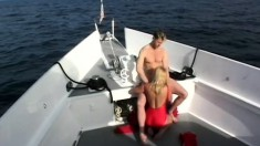 Sexy Kristy Love is on his yacht and slurps on his cock for a creamed treat