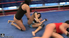 Brunette babe gets wrestled into the ground by two mean sluts