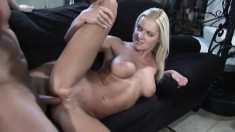 Blonde cunt soaks her lover's fingers and cock to go deep in her ass