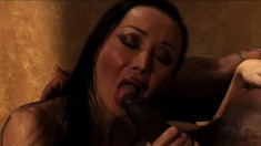 Hung black guy gets to pound this slim Asian chick's firm ass