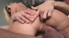Blonde bombshell Devon enjoys taking in this colossal love muscle