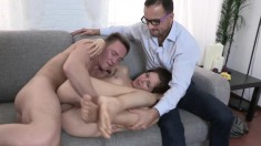 Long-legged Tramp Gets Plowed While Her Naughty Boyfriend Watches
