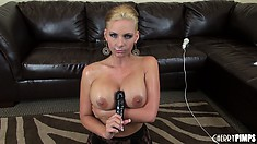 Watching slutty blonde Phoenix Marie suck on a dildo till she gags is hot