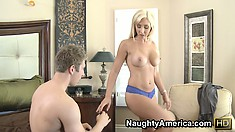 Busty blonde babe Jessica Lynn gets naked and goes down on his joint