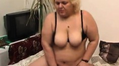 Cock starving lady with huge tits drills her needy snatch with a dildo