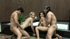 Monica Mattos in a wild orgy of man cock, lady cock and her pussy