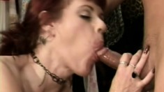 Ravishing redhead milf with big natural tits orgasms on a hard stick