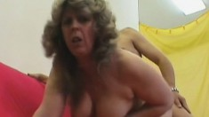 Stacked blonde milf has a hard stick making her hairy snatch all wet