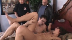 Husband and friend watch the wife get it on with another prick