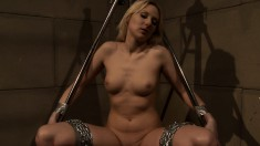 Gorgeous blonde bondage fetishist gets tied up, suspended and pleased