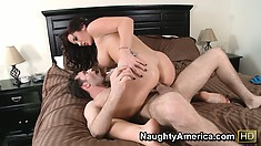 Jayden Jaymes is a busty brunette with a perfect ass and wild desires to fulfill