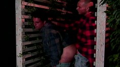 Attractive and horny gay lumberjacks engage in anal sex in the cabin