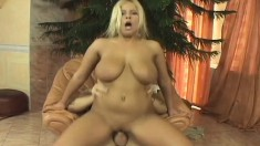 Chubby blonde Jessica wears a cat mask as she gives head and fucks