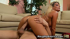 Blond Kristal Summers rides his cock well then cums all over it