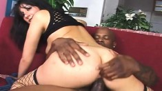 Slender brunette takes every hard inch of black meat up her tight ass