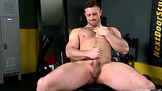 Paul Wagner moans and sighs while masturbating himself to orgasm