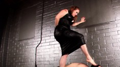Curvy Mistress Walks All Over A Well-endowed Guy As A Punishment
