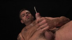 Studly Brunette Dude Sticks A Rod In His Prick And Slowly Jacks Off