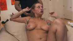 Big Breasted Blonde Slut Puts Her Hot Lips To Work On A Few Long Poles