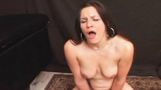 Lustful brunette milf with big natural breasts Jade cums on the sybian