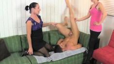 Amanda Winchester and Miss Dee giving Lance Hart a marvelous handjob