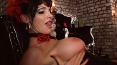 Hot Dommes In Red And Black Leather Give Stud Slaves A Spanking In A Bdsm Session