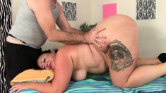 Chubby Brunette Lady Has A Masseur Toying Her Shaved Pussy To Climax