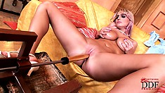 Sexy blonde MILF with massive mounds gets on her knees for the sybian show