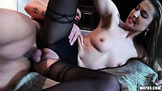Sexy blonde babe in crotchless pantyhose takes his dick deep