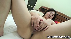 Waka spreads her lustful legs and he bangs her shaved snatch until it gets creampied