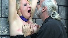 Blonde babe screams and tears up after her master releases her