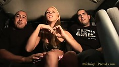 Lovely blonde girl in a sexy black dress Kylie Wilde is on the lookout for hardcore fun