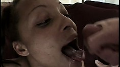 Hazel relishes the wild hardcore gangbang and welcomes their huge load on her face