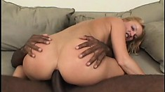 Jessica Dee moans and groans as he slides his big black dick deep in her behind