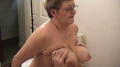 Fat granny gets her booty and tits fondled while fucking her man