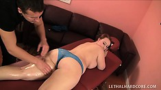 Chubby brunette with a big booty gets fucked on a massage table