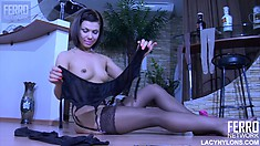 Lusty Lily C shows off her tight body in front of the camera
