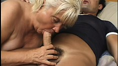 Chubby mature lady Vicky Salas spreads her legs and the young stud pounds her cunt