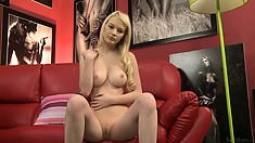 Cute blonde Whitney in a casting scene bares it all for the camera