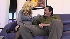 Marvelous fancy woman with blonde hare shows her big tits and seduces guy