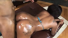 Mighty fine ebony bimbo with lots of booty gets pounded balls deep