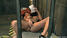 Sweet lesbians making out in the prison cell in a porno featuring Ann Marie Rios and Jelena Jensen