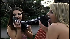 Sexy lesbians in a three way outside with toys fucking pussy and ass
