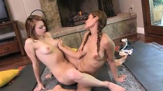 Tight-bodied hotties Mari and Sage in a damn kinky yoga workout