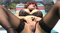 Voluptuous redhead cougar has a huge black prick stretching her pussy